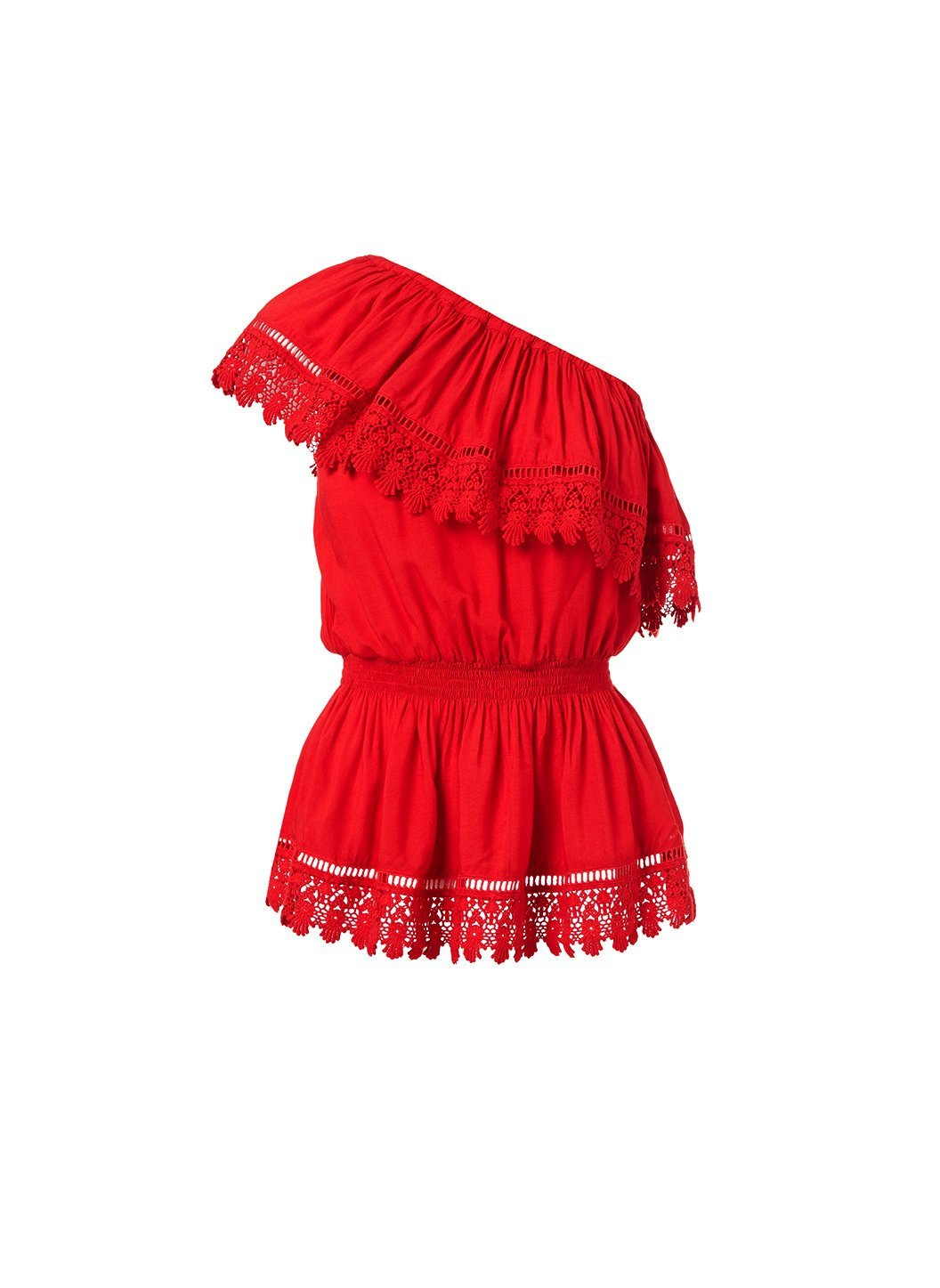 joanna red oneshoulder embroidered frill top 2019