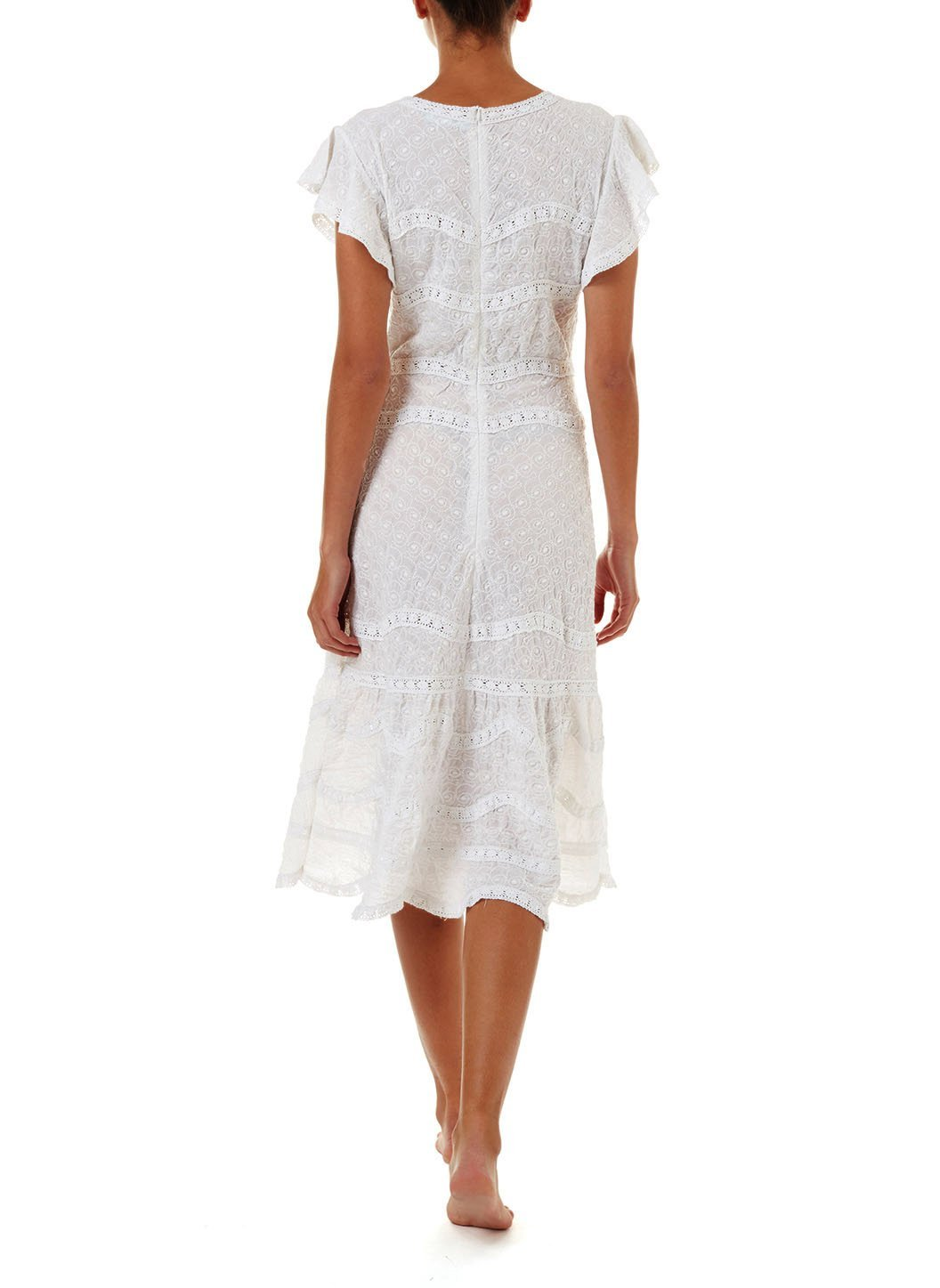 louisa white highneck midi tea dress 2019 B