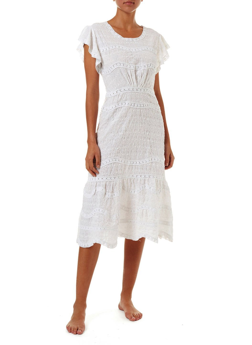 louisa white highneck midi tea dress 2019 F