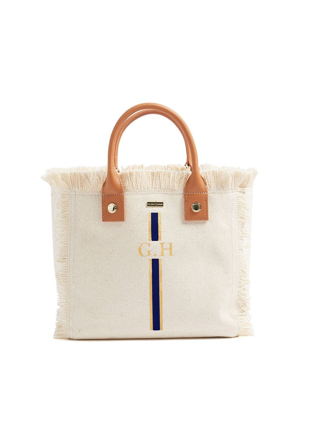 Personalized Porto Cervo Mini Beach Tote Beige Navy