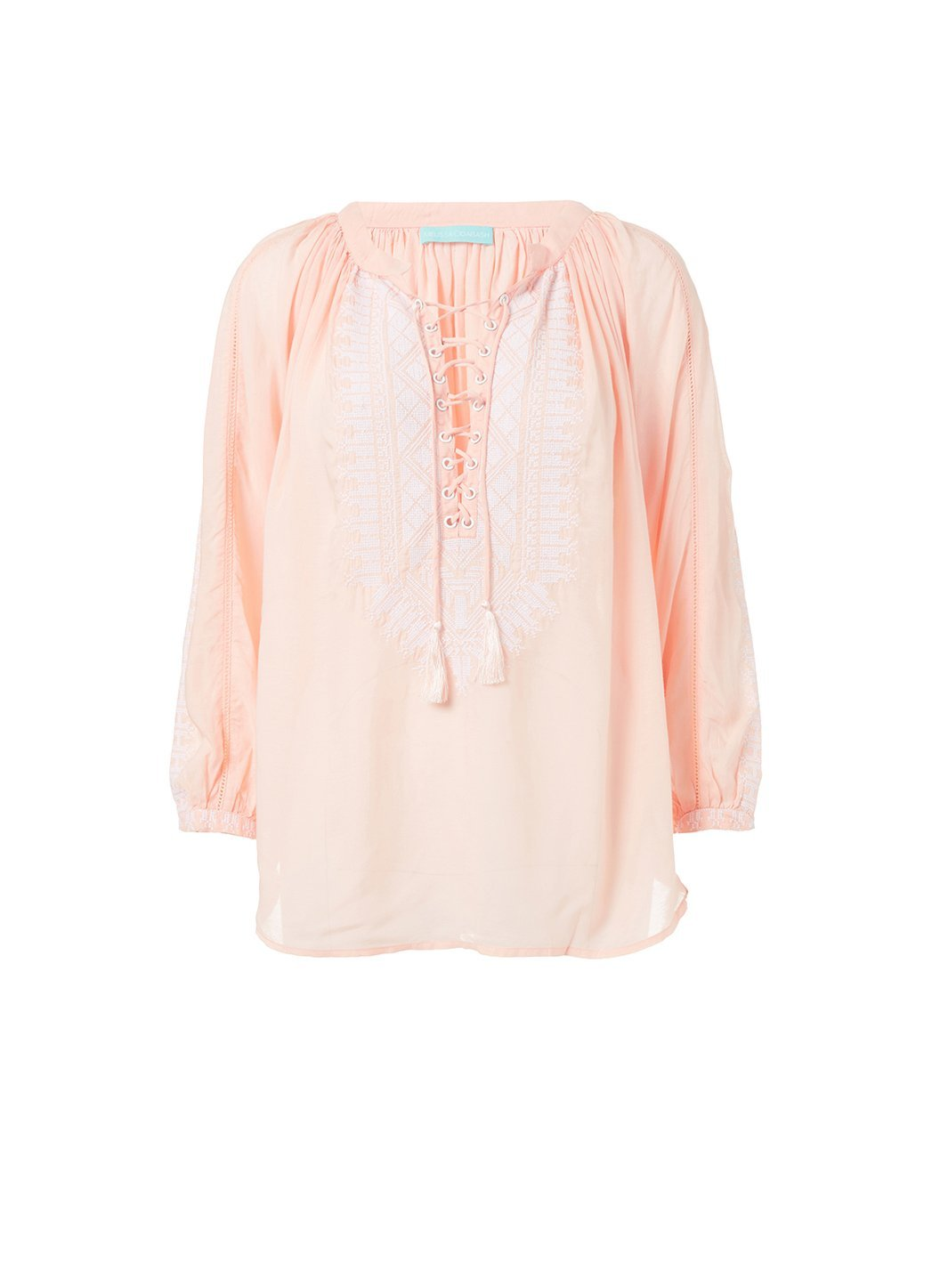 simona peach white laceup embroidered blouse 2019