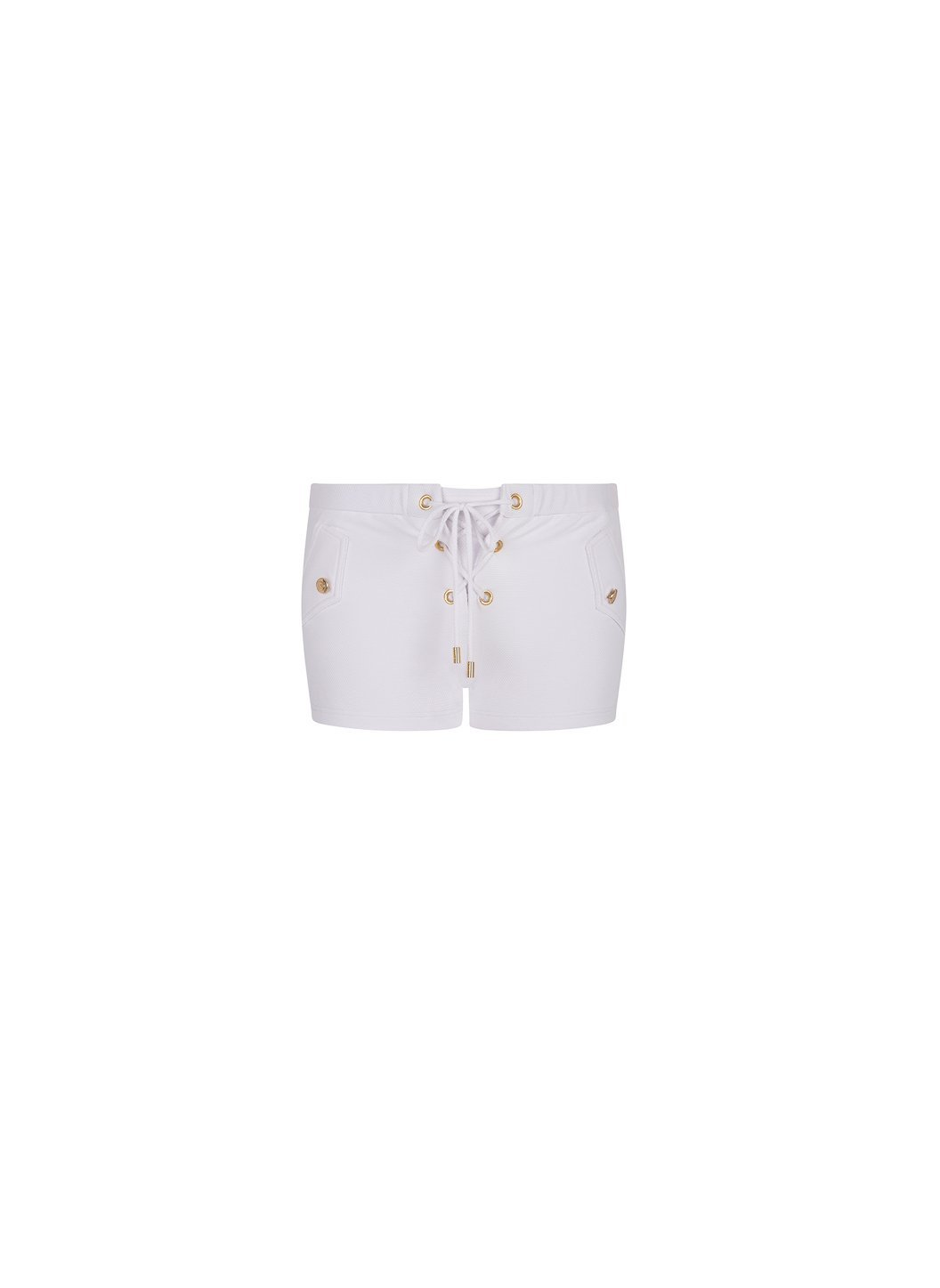 Sophia White Pique Lace-Up Eyelet Shorts