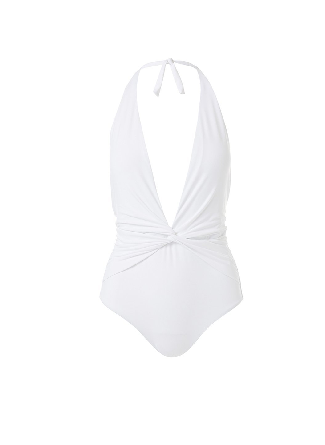 tahiti white halterneck plunge ruched onepiece swimsuit 2019