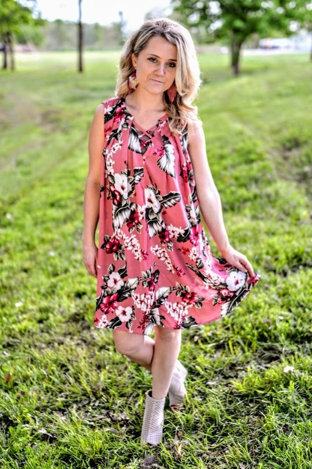 Sleeveless Berry Floral Print Dress with Keyhole Back
