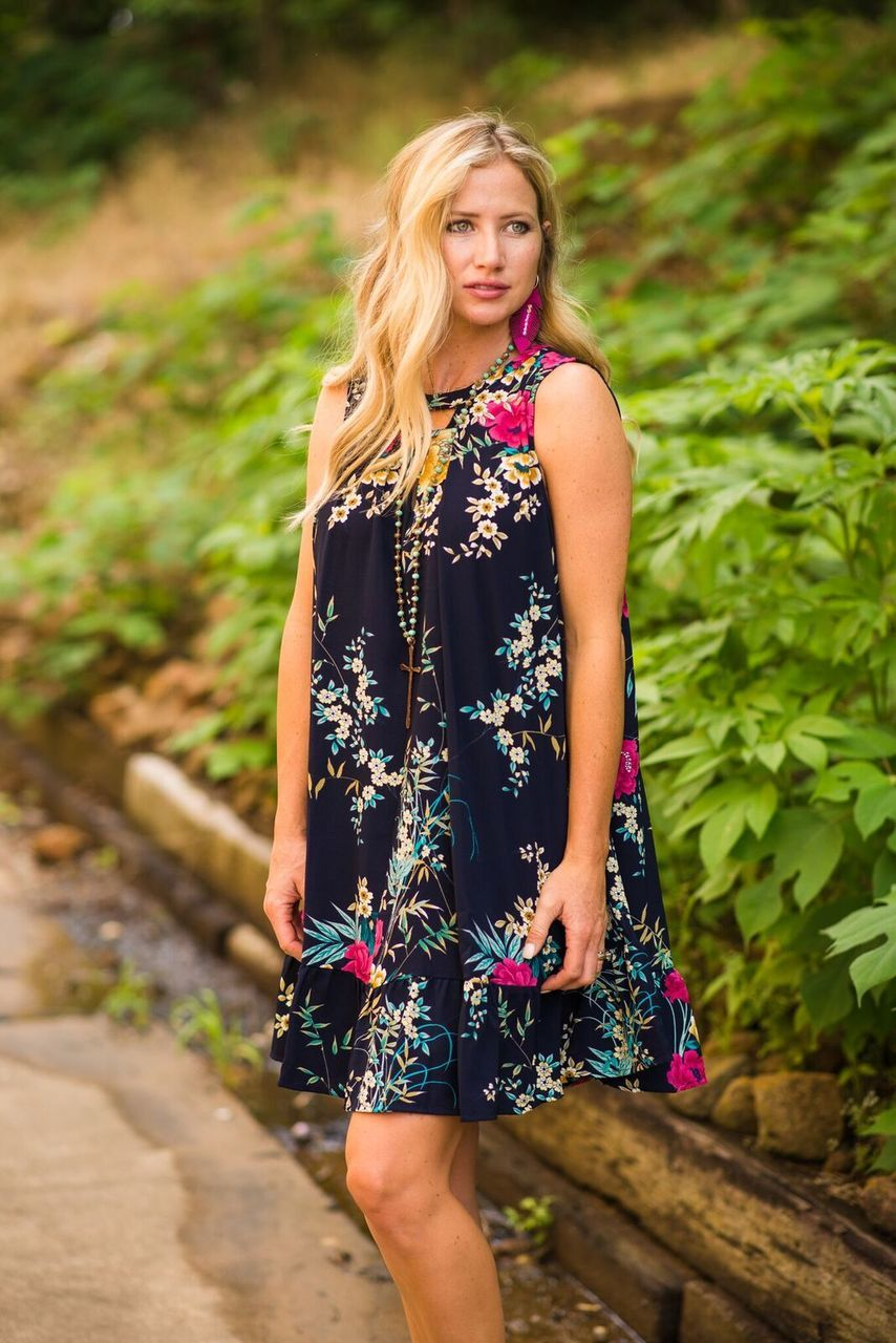 Navy Floral Dress with Ruffle Hem