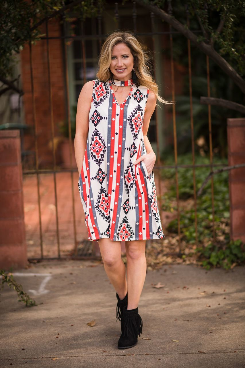 Aztec Choker Dress - The Pink Buffalo,LLC