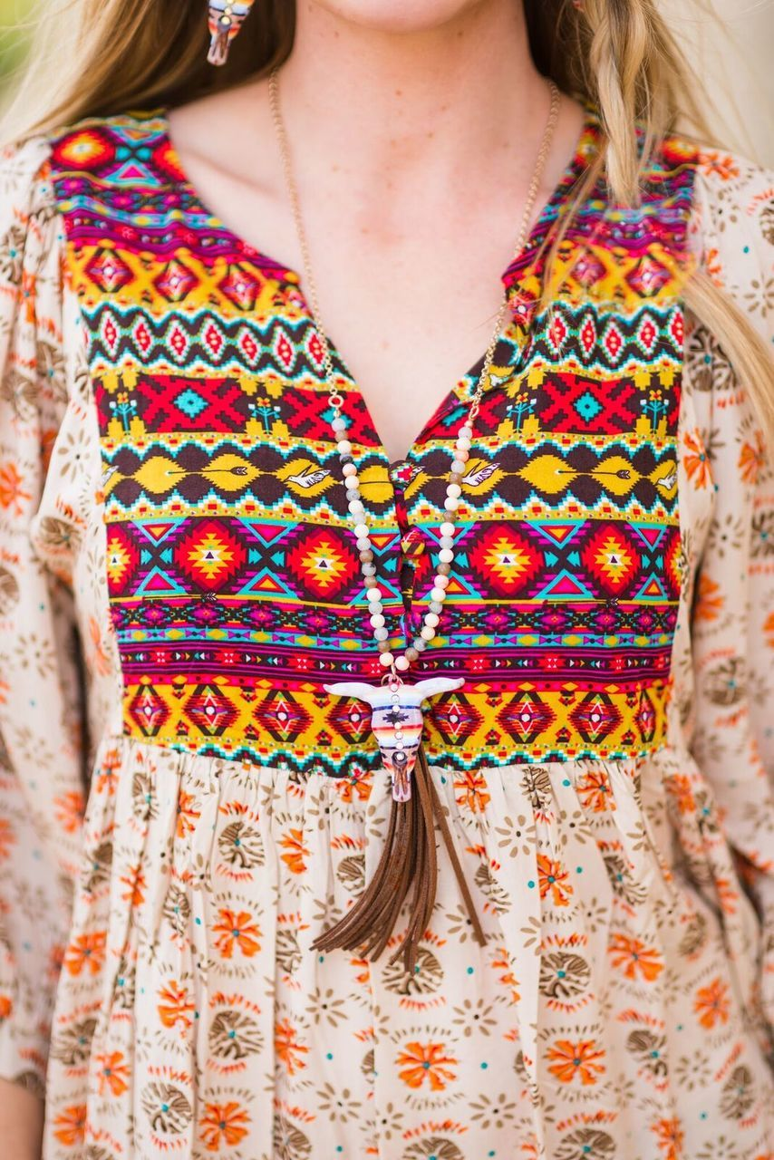 Boho Print Dress - The Pink Buffalo,LLC