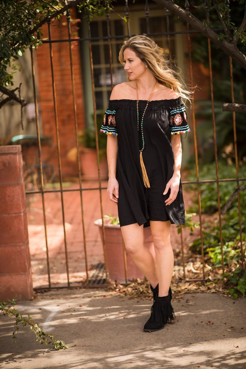 Black Fiesta Embroidered Dress - The Pink Buffalo,LLC