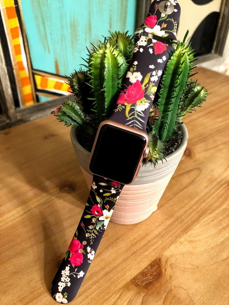 Black Floral Print Watch Band-38mm - The Pink Buffalo,LLC