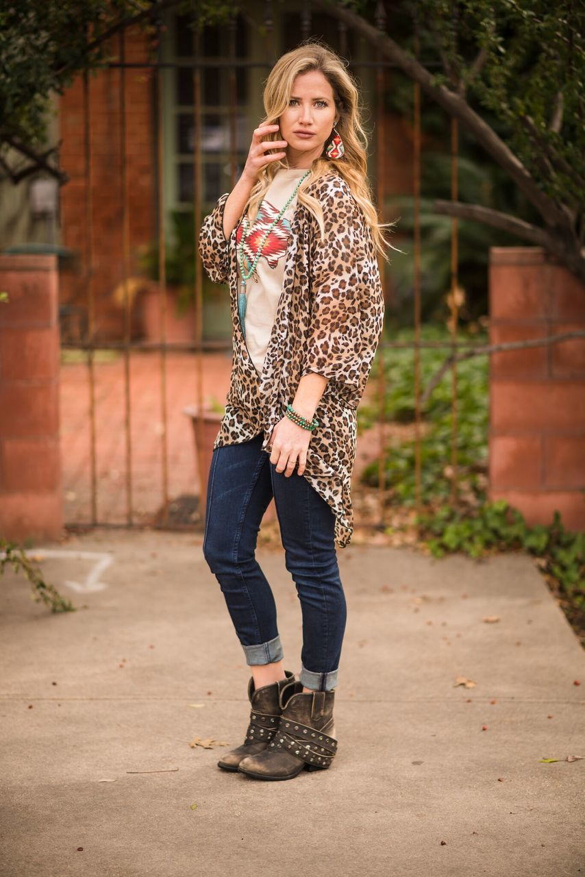 Brown Leopard Print Kimono-PLUS - The Pink Buffalo,LLC