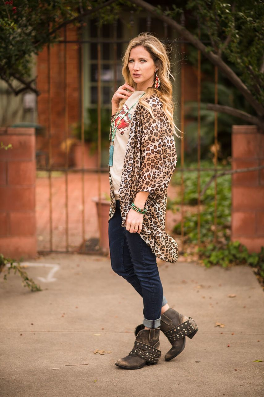Brown Leopard Print Kimono - The Pink Buffalo,LLC