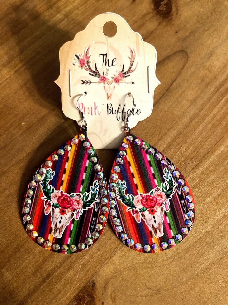 Cowskull Floral Serape Earrings - The Pink Buffalo,LLC