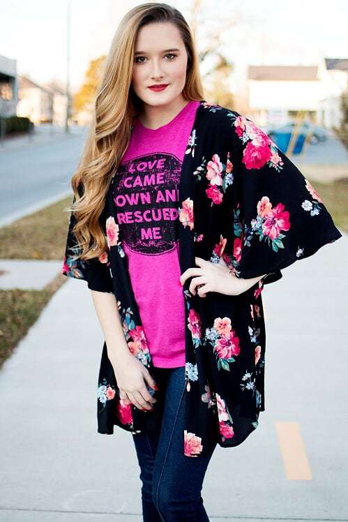 Black  Floral Print Kimono - The Pink Buffalo,LLC