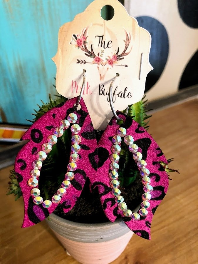 Fuchsia Cowhide Earrings