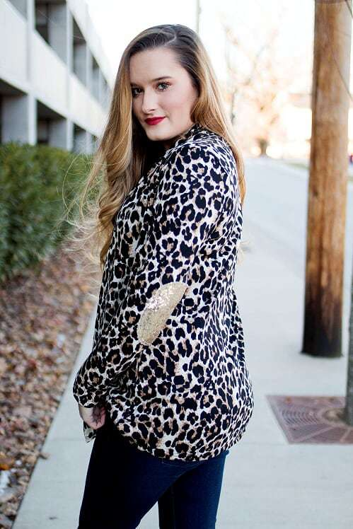 Leopard Cardigan with Sequin Elbow Patch