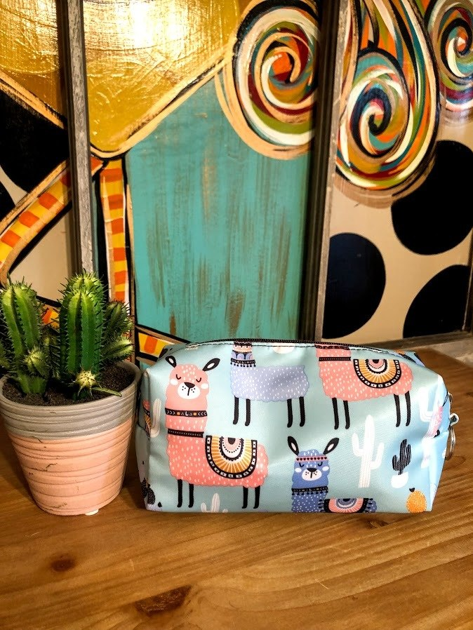 Llama Make-Up Bag-Turquoise
