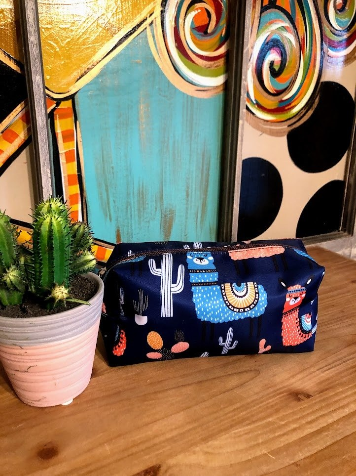 Llama Make-Up Bag-Navy