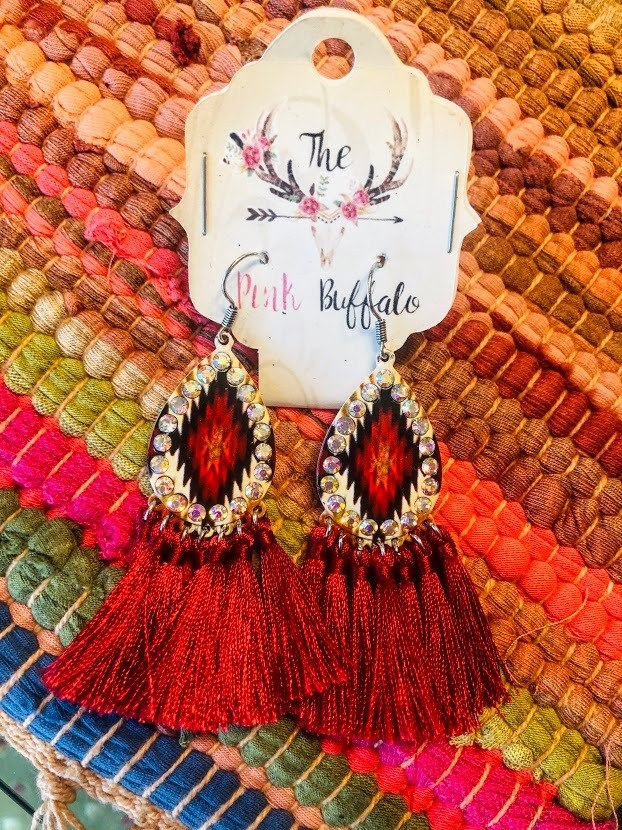 Red Diamond Tassel Earrings