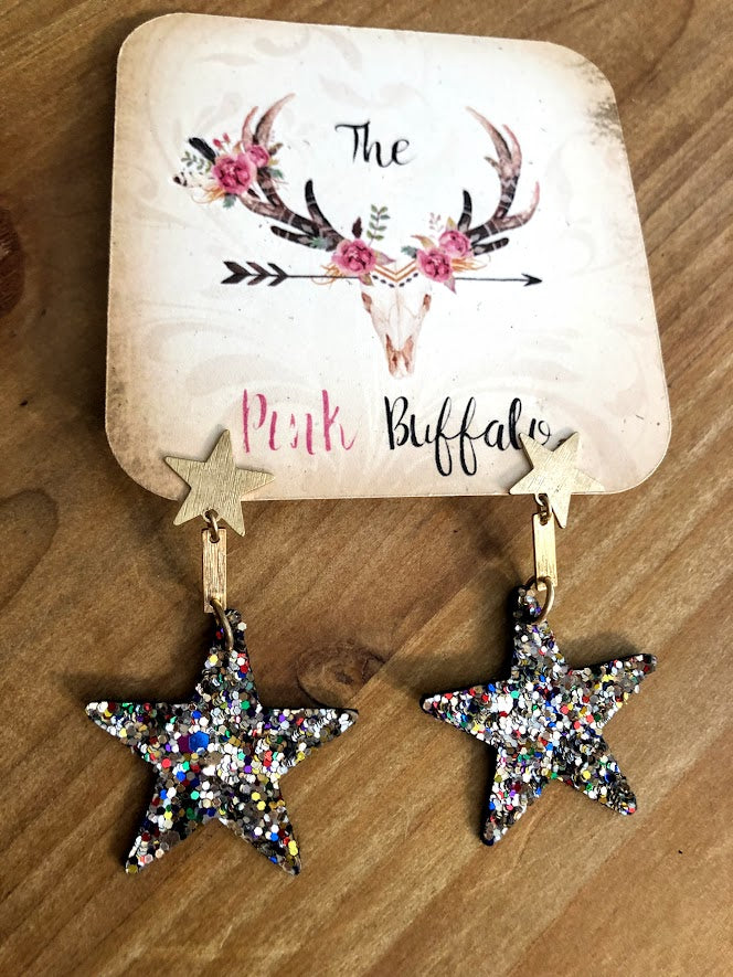 Star Dangle Earrings-Silver