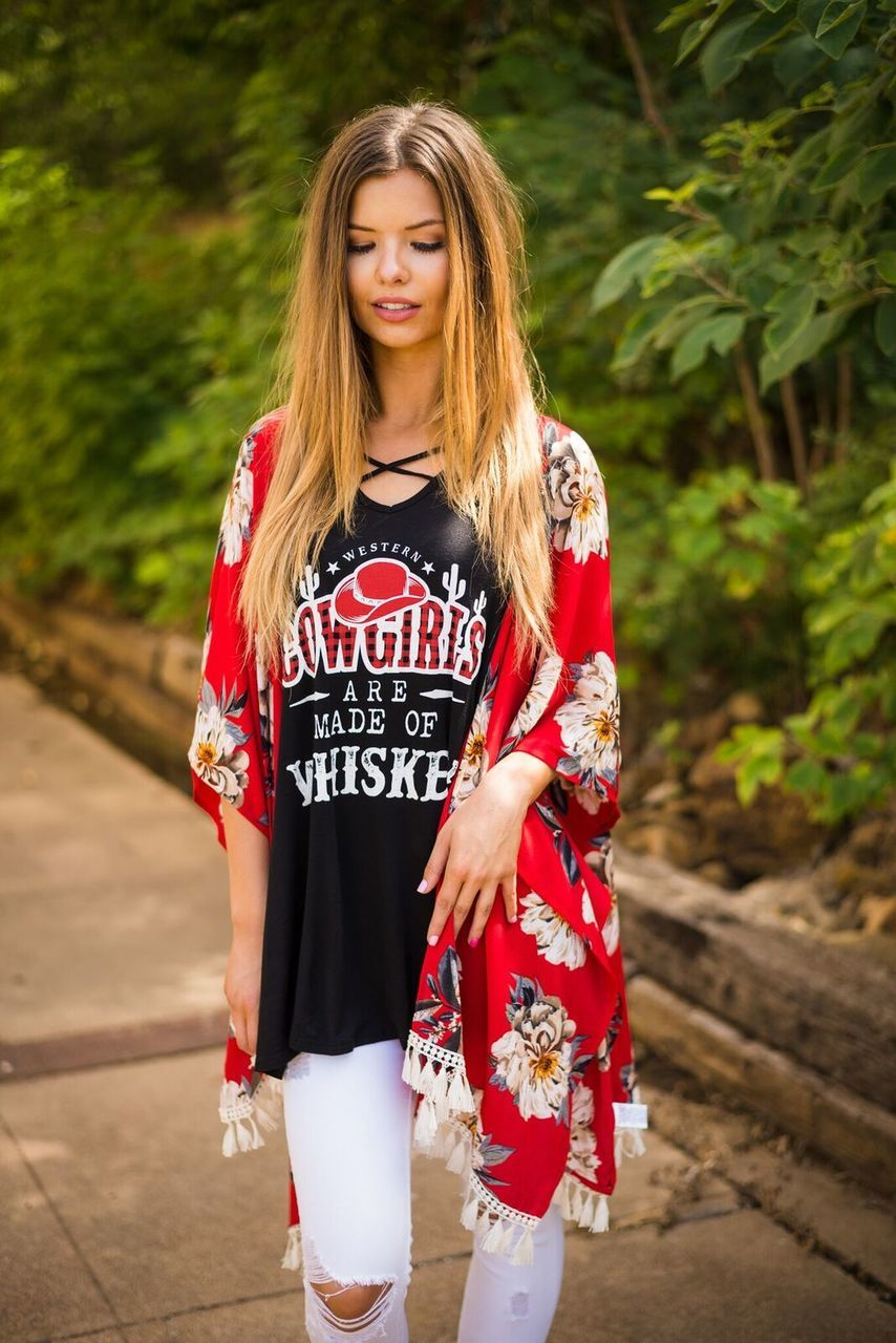 Red Kimono with Tassel Hem-PLUS