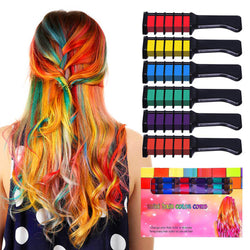 Temporary Hair Color Chalk Combs Kit 6 PCS Fashion Colorful Girls Party Cosplay Halloween Hair Salon Dyeing Combs - Happy Panda
