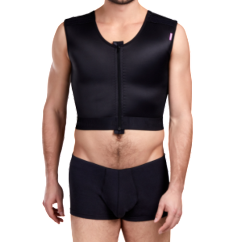 Lipoelastic MTmS Comfort Male Post Surgical Compression Vest - Black