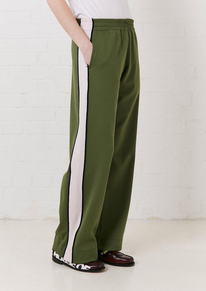 'Missy' Contrast Panelled Track Pant (Pink & Olive Green)