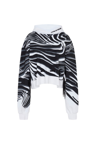 White Wave Print Two-Way Hoodie
