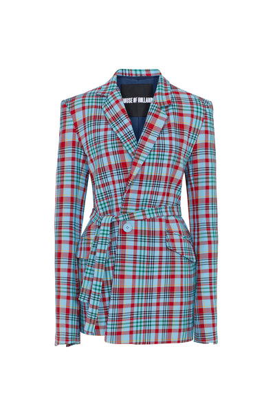 Blue Tartan Tailored Suit Jacket