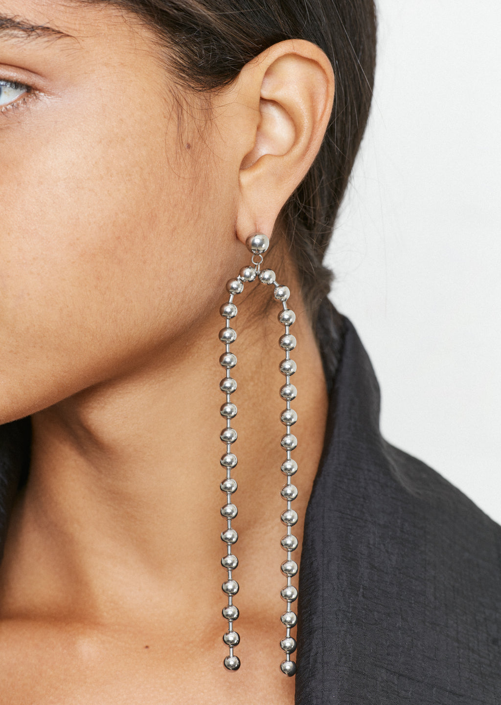 Silver Ball Chain Drop Earrings by House of Holland