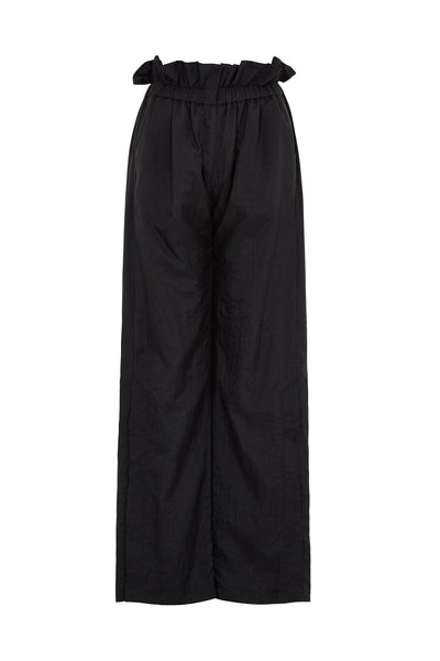 Ripstop Black Gathered Waist Trouser
