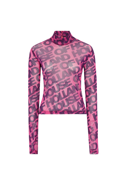 Printed 'House of Holland' Long Sleeve Mesh Top (Vivid Pink)