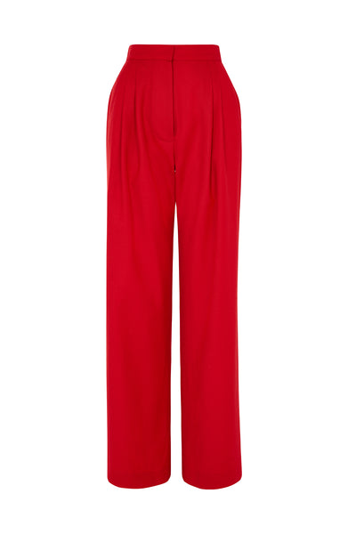 Wool Red Gathered Waist Trouser
