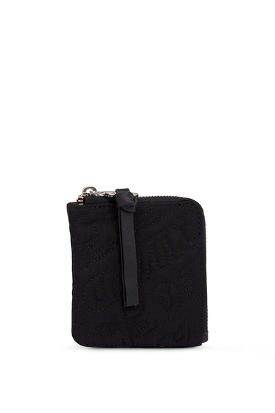 'HOH' Black Embroidered Zip Wallet