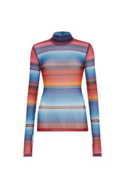 Sunset Mesh Stripe Long Sleeve Top