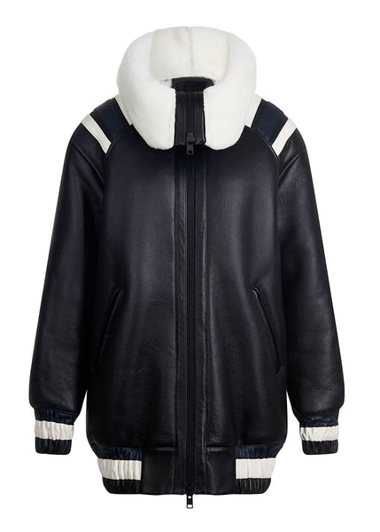 Black Shearling Varsity Jacket