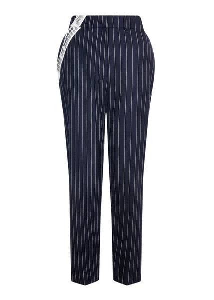 Navy Pinstripe Tailored Wool Trouser