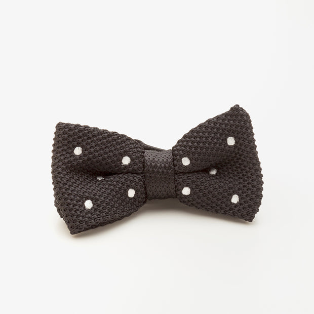 Black with White Polka Dots Knit Bow Tie