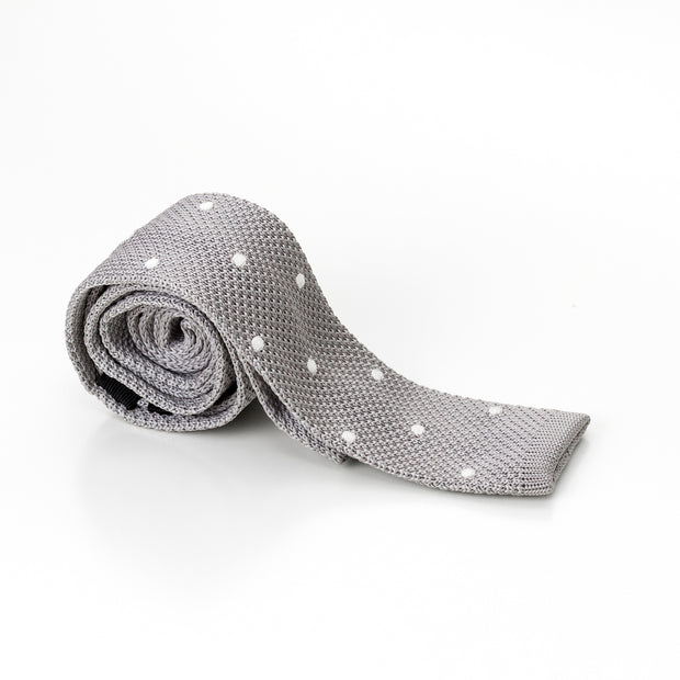 Flat Tipped Grey with White Polk Dots Knit Tie