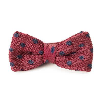 Knit Red & Navy Polka Dot Bow Tie