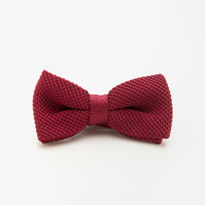 Red Wool Knit Bow Tie