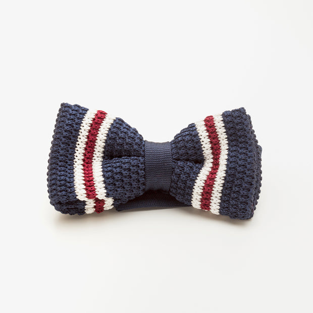 Red and White Striped Blue Wool Knit Bow Tie