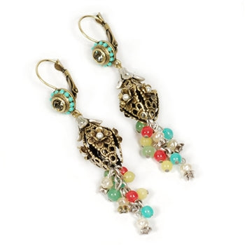 Canasta Lantern and Bead Dangle Earrings OL_E127 - sweetromanceonlinejewelry