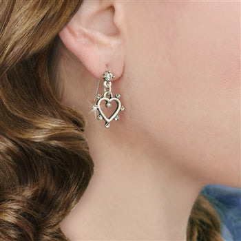 Crystal Outline Heart Earrings E1324 - sweetromanceonlinejewelry