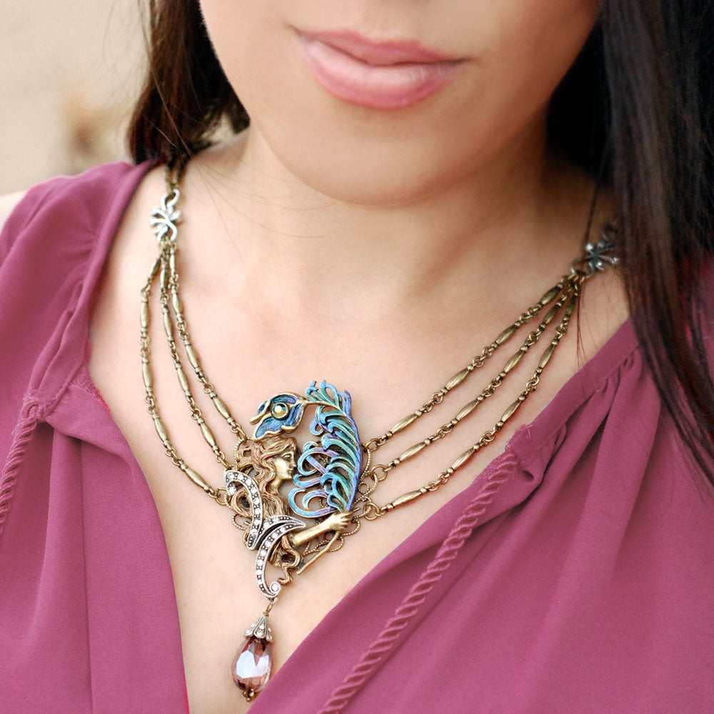 Peacock Feather Necklace N1001 - sweetromanceonlinejewelry