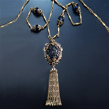 Antique Blue Glass & Enamel Tassel Necklace N1571 - sweetromanceonlinejewelry