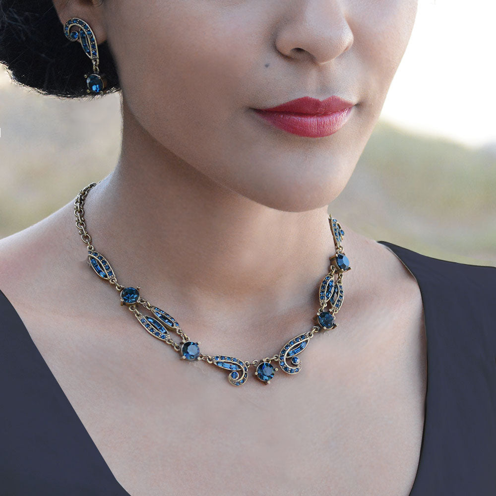 Art Deco Sapphire Blue Crystal Necklace - sweetromanceonlinejewelry
