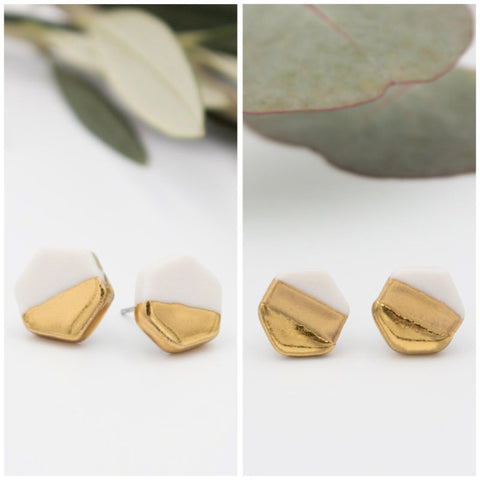 Gold + White Hexagon Earrings