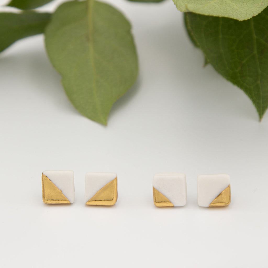 Gold + White Square Earrings
