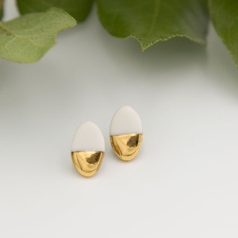 Gold + White Oval Earrings